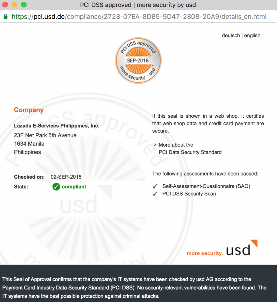 Lazada PCI DSS verification