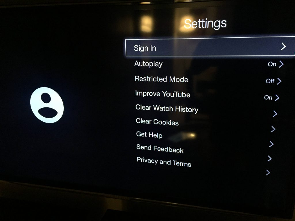 Sign In YouTube from Apple TV
