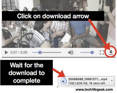 Click download arrow